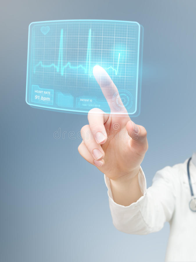 Free Doctor Checking Futuristic ECG Royalty Free Stock Photography - 42812567