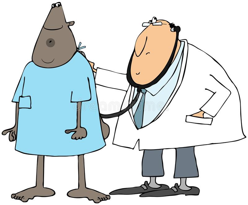 Doctor checking his patient vector illustration