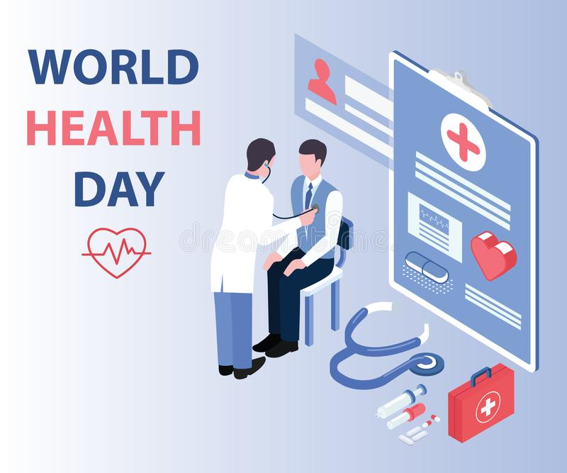 Doctor Checking his Patient on World Health Day Isometric Artwork Concept stock illustration