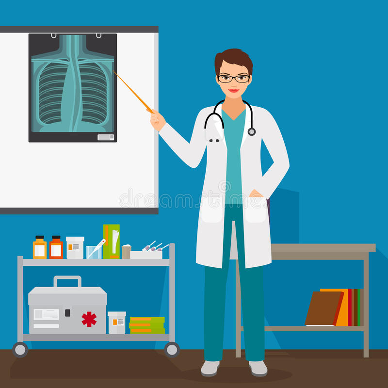 Doctor checking lungs x-ray film. In hospital, vector illustration royalty free illustration