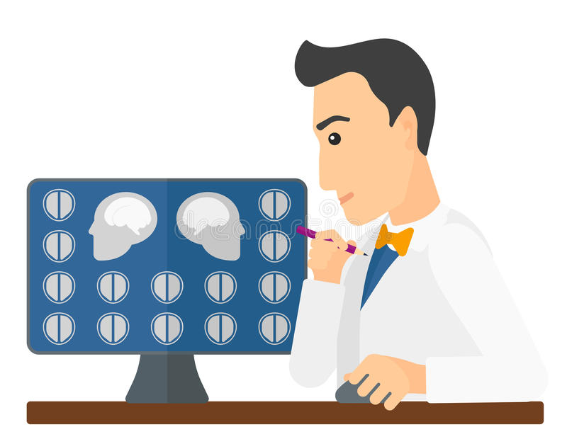 Doctor checking MRI results stock illustration