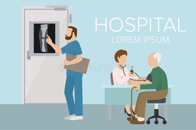 Doctor checking old man patient arterial blood pressure banner. Health care vector illustration. Surgeon looking at X vector illustration