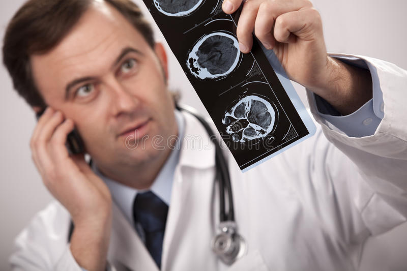 Doctor is checking x- ray stock images