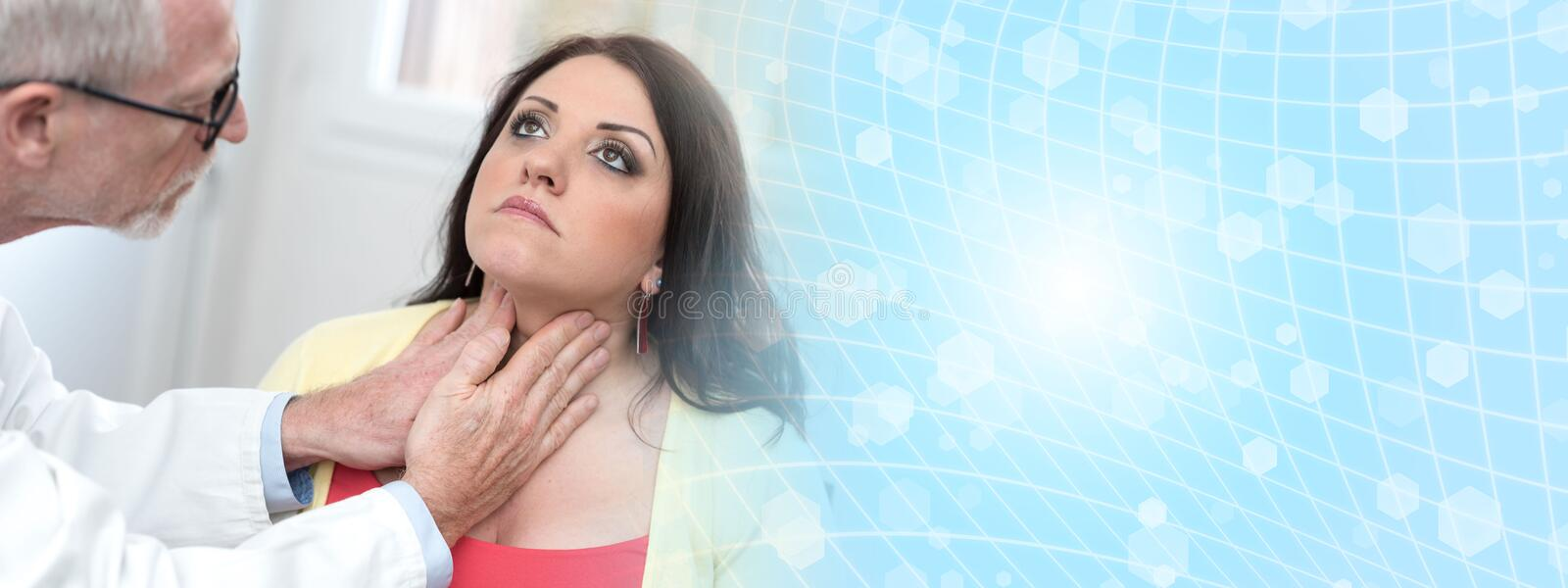 Doctor checking thyroid. Of a young patient royalty free stock photography