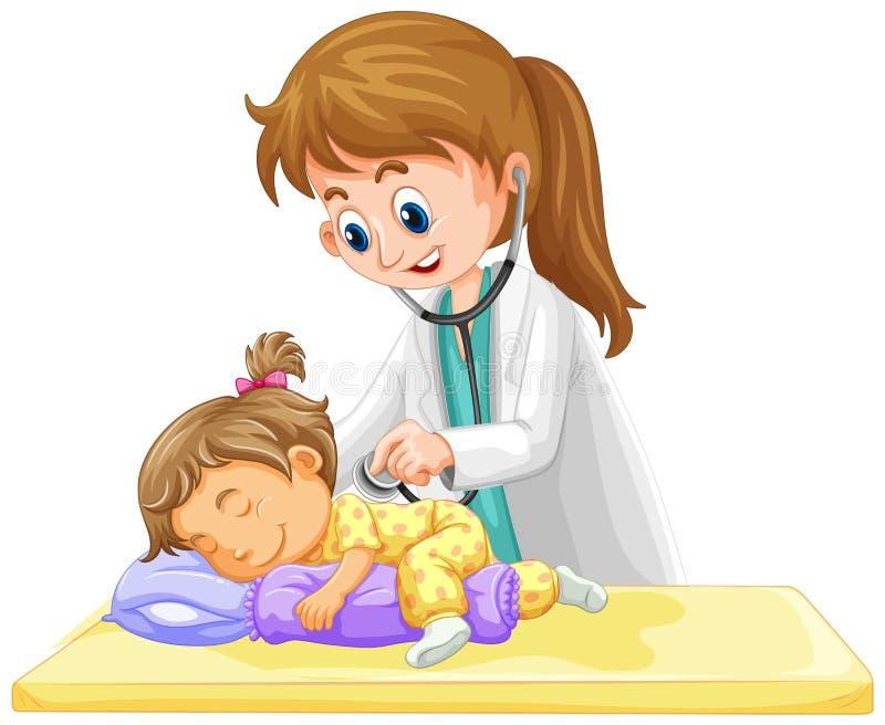 Doctor checking up on little toddler girl. Illustration royalty free illustration