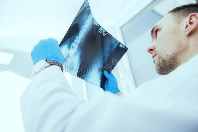 Doctor Checking Xray Results stock photos