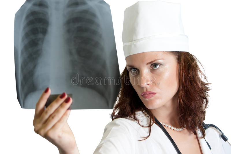 Doctor with chest X-ray royalty free stock photos