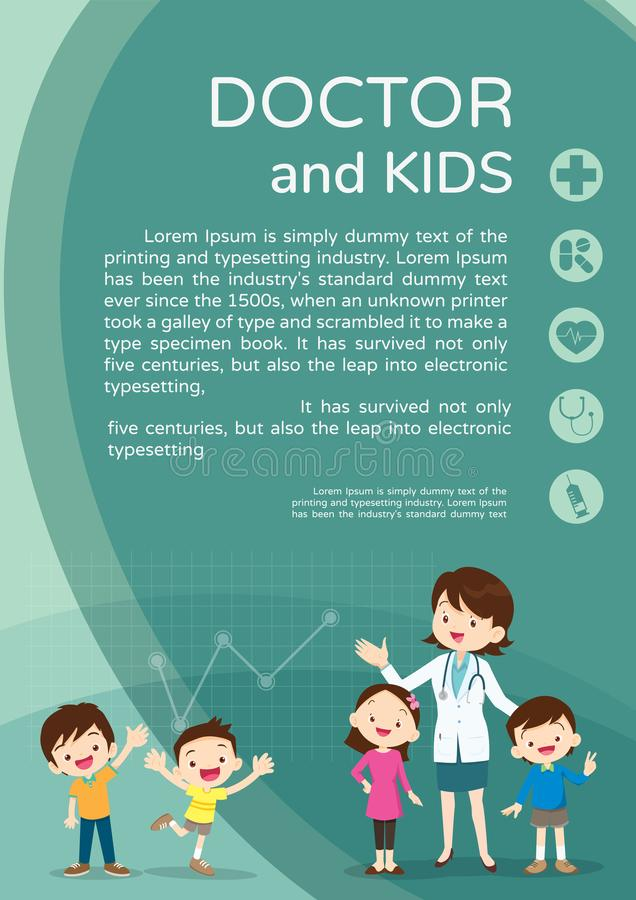 Doctor Woman And Kids Background Poster Portrait Stock