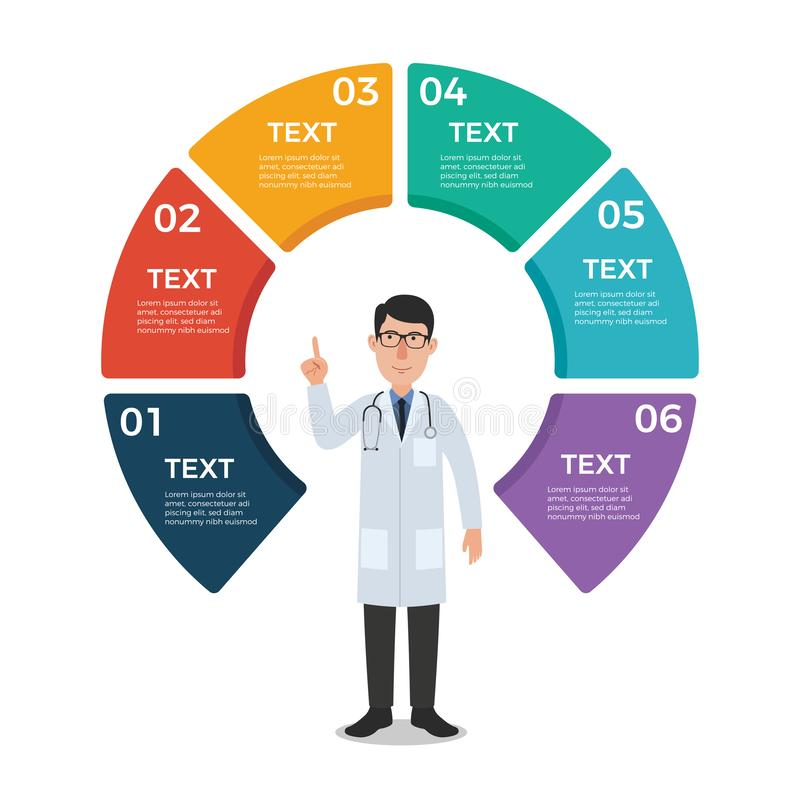 Doctor with Circle Chart Infographic Template vector illustration