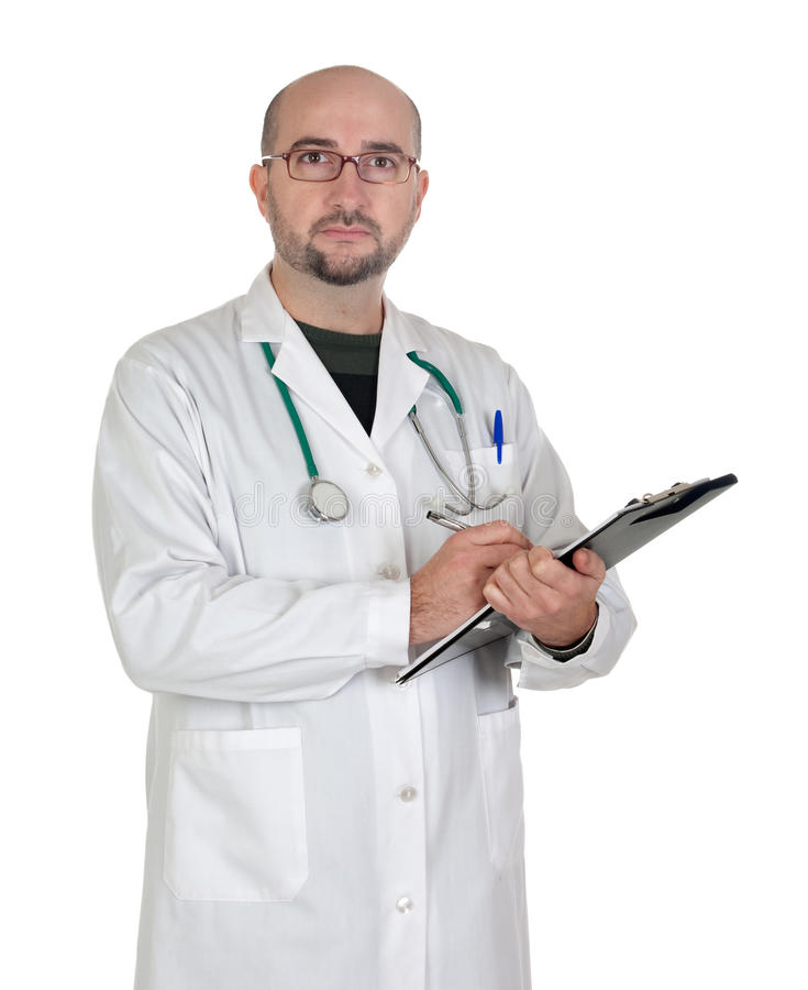 Doctor with clipboard and paperwork. Isolated on white background royalty free stock photo
