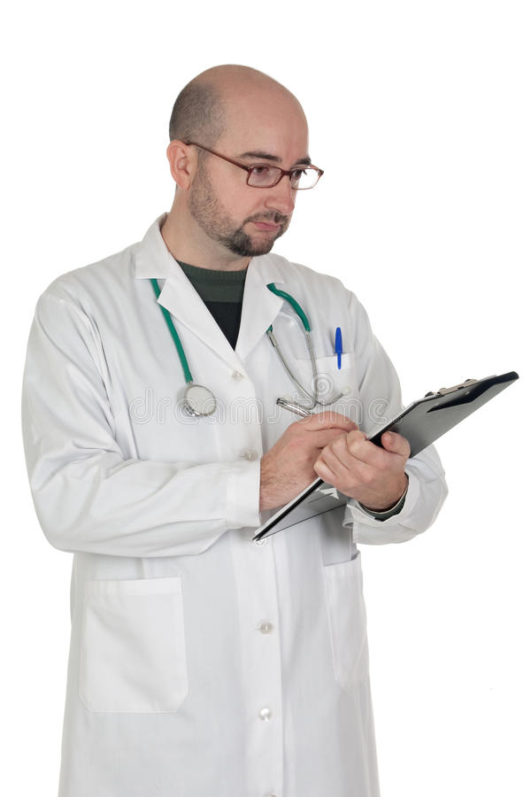 Doctor with clipboard and paperwork stock photo