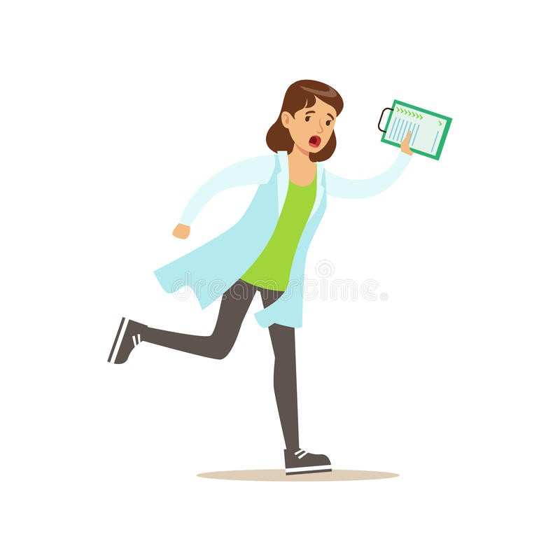 Doctor With Clipboard Running Shouting, Emergency Situation, Hospital And Healthcare Illustration vector illustration