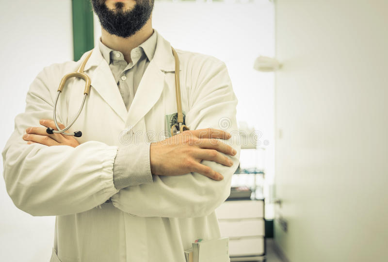 Doctor close up in the medical studio royalty free stock photo