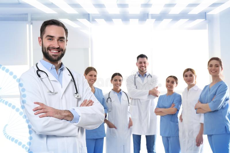 Doctor with colleagues in clinic. Medical service stock photo