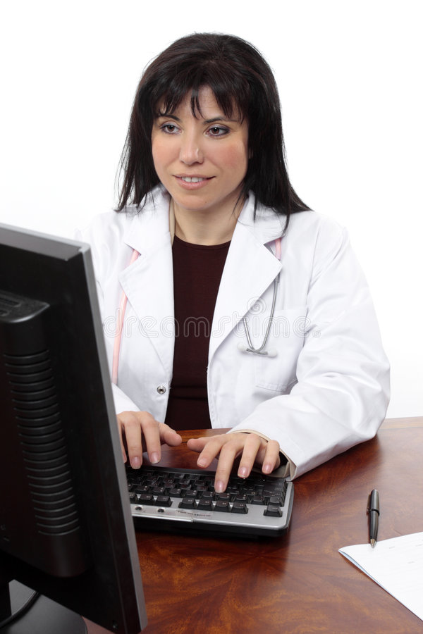 Doctor at computer royalty free stock image