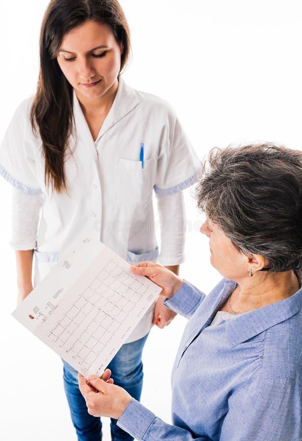 Doctor con ECG que se sostiene paciente foto de archivo libre de regalías