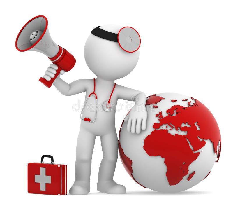 Doctor con el globo y el megáfono. Cara europea. stock de ilustración