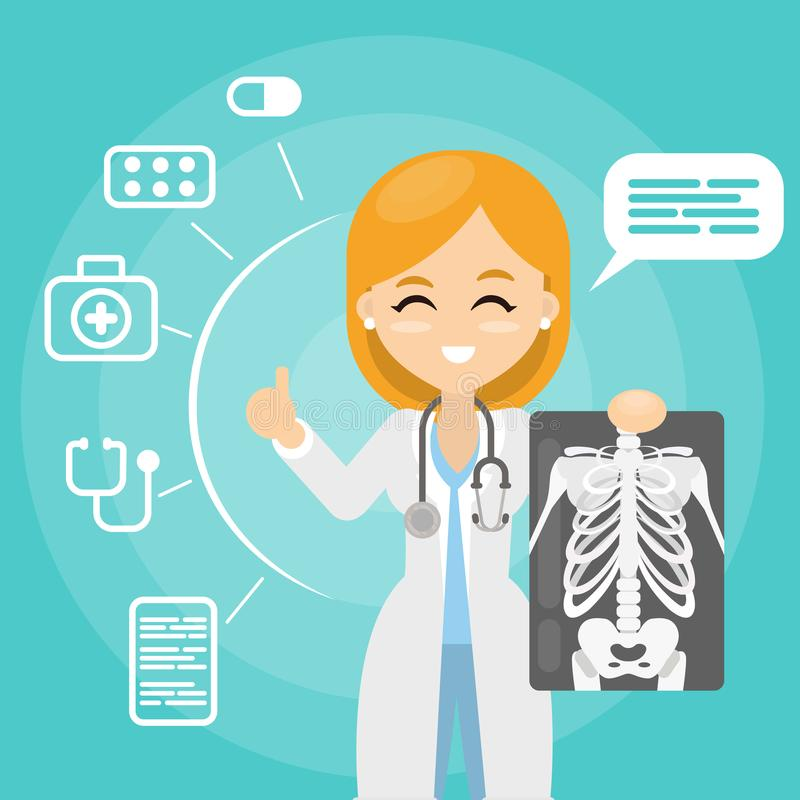 Doctor con el rayo de x stock de ilustración