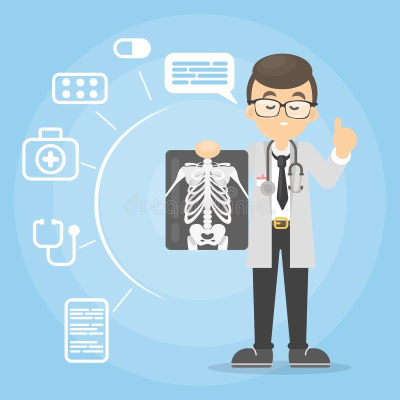 Doctor con el rayo de x ilustración del vector