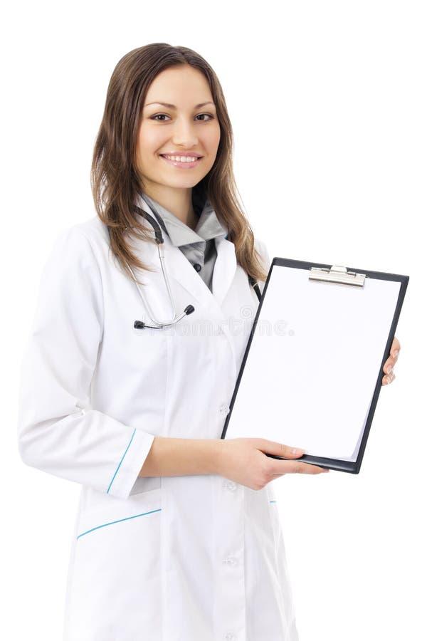 Doctor con el sujetapapeles, aislado imagenes de archivo