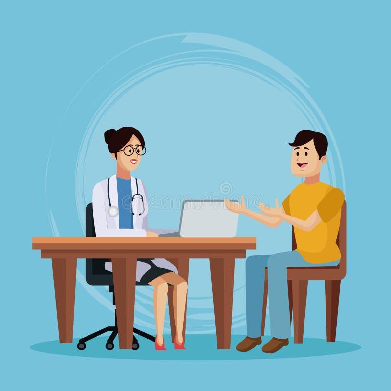 Doctor con la historieta paciente stock de ilustración