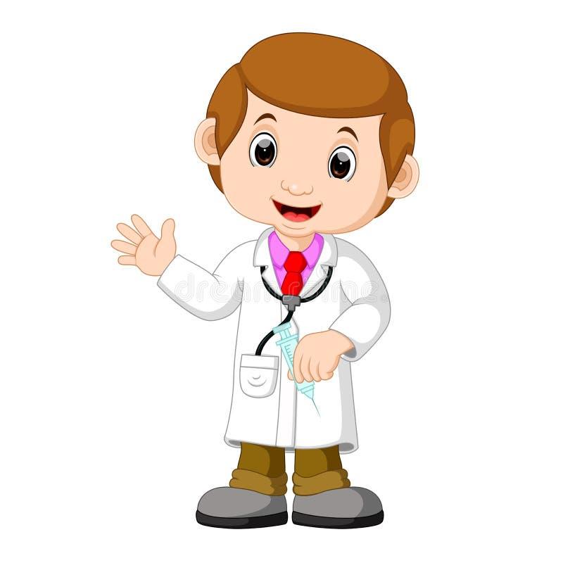 Doctor con la inyección stock de ilustración