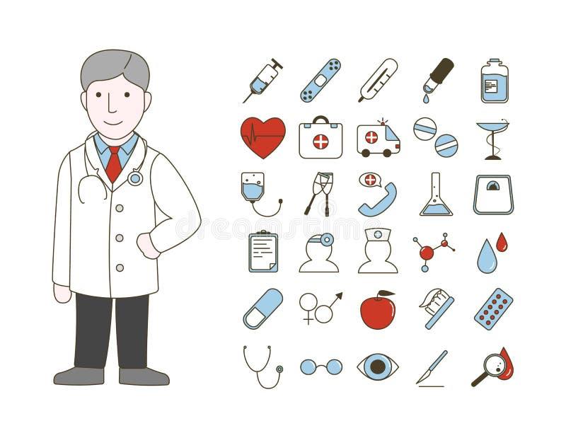doctor con los iconos stock de ilustración