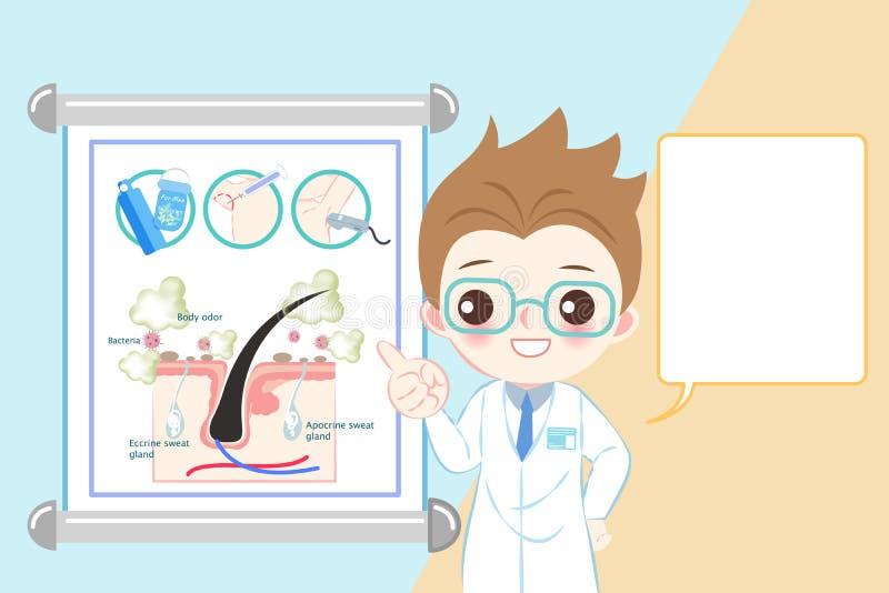 Doctor con problema del olor corporal stock de ilustración