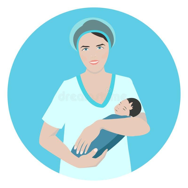 Doctor con un bebé libre illustration