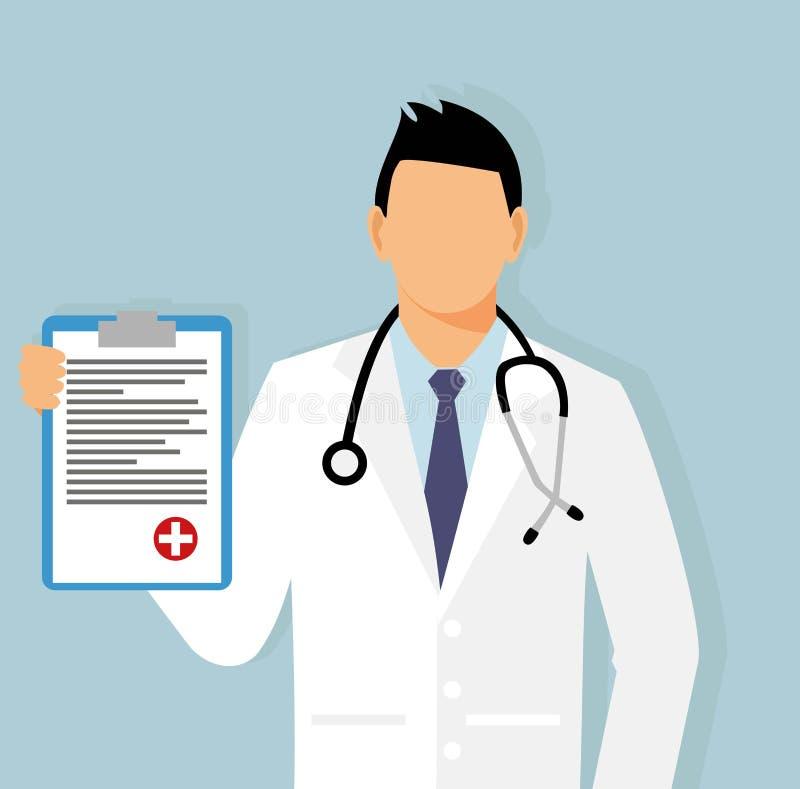 Doctor con una hoja de la asignación en su mano ginecólogo en el ejemplo del vector de la oficina Médico con el estetoscopio ilustración del vector