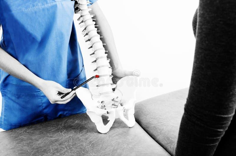 Doctor Con Una Pluma Que Muestra Una Hernia En Un Esqueleto A Un ...