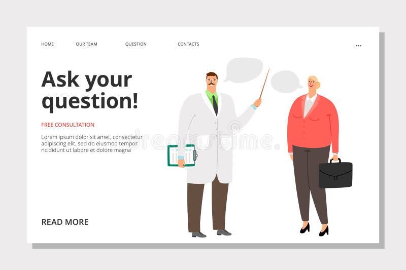 Doctor consultation banner. Medicine landing page. Ask doctor, free consultation banner template. Vector doctor and patient vector illustration