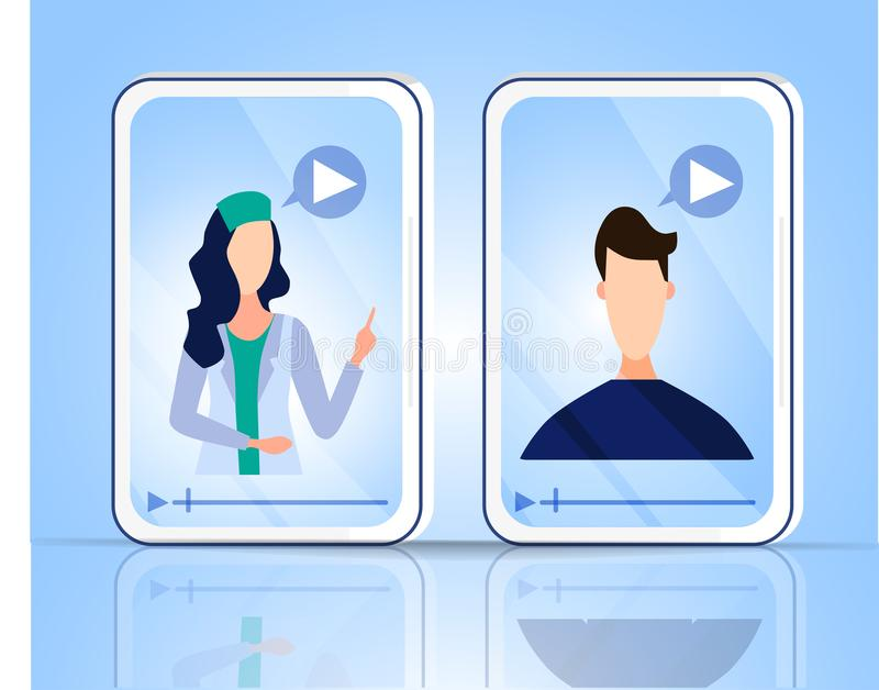 Online consultation of the doctor and patient. Family doctor, psychological and medical care. Banner health. Vector illustration vector illustration