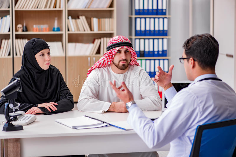 The doctor consulting arab family at hospital royalty free stock photo