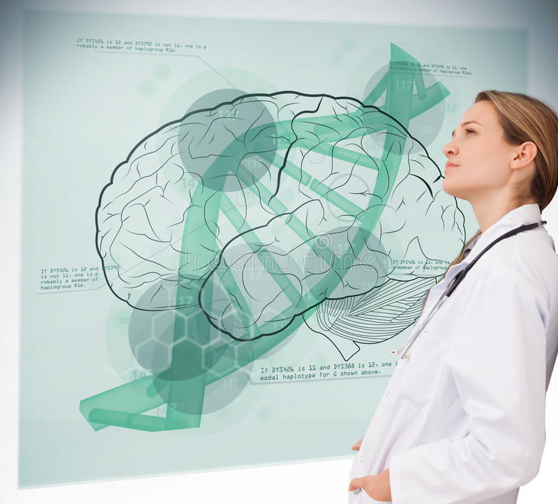 Doctor consulting brain interface. Doctor consulting futuristic green brain interface stock illustration