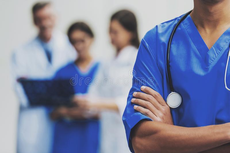 Doctor with Crossed Hands. royalty free stock photography