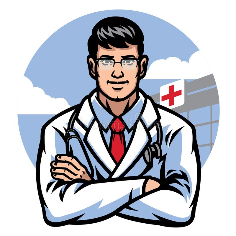 Doctor crossing arm in front of hospital badge royalty free illustration