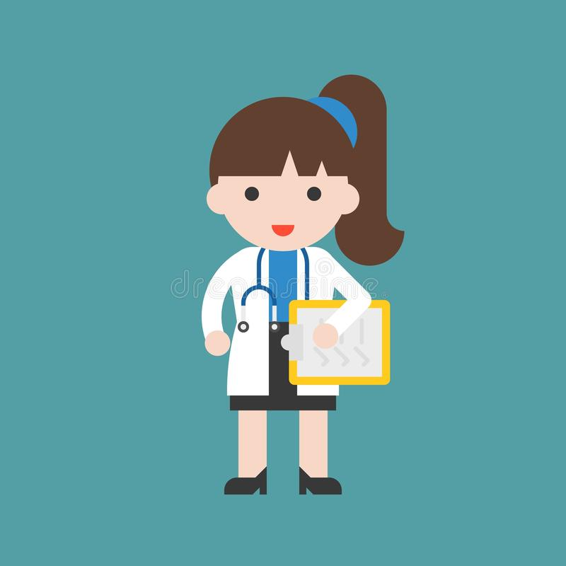 Doctor, Cute character hospital and healthcare staff, flat design stock illustration