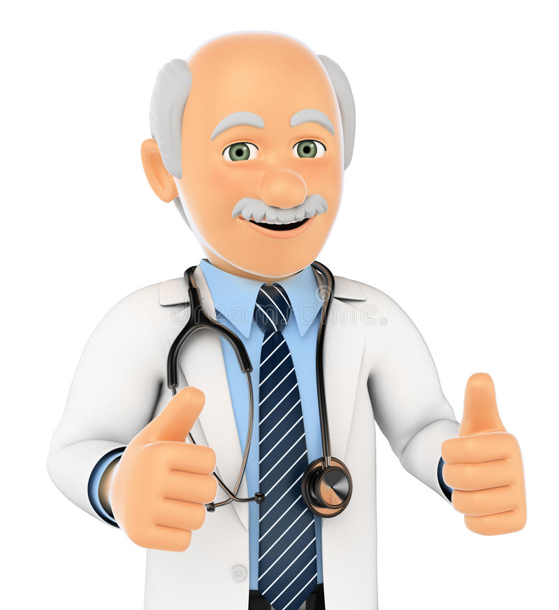 doctor 3D con los pulgares para arriba libre illustration