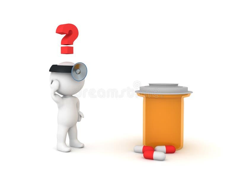 doctor 3D que mira confundido la botella anaranjada grande de la droga libre illustration