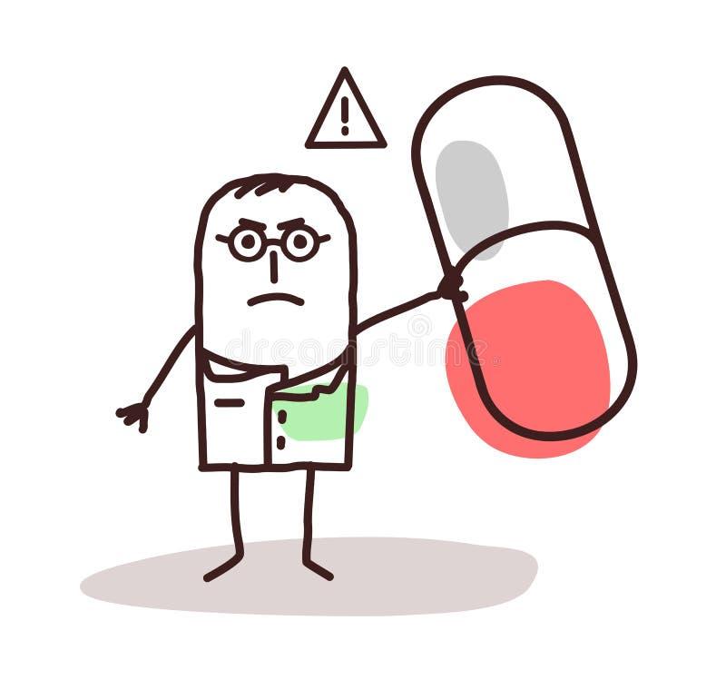 Doctor de la historieta con la cápsula peligrosa de la medicina libre illustration