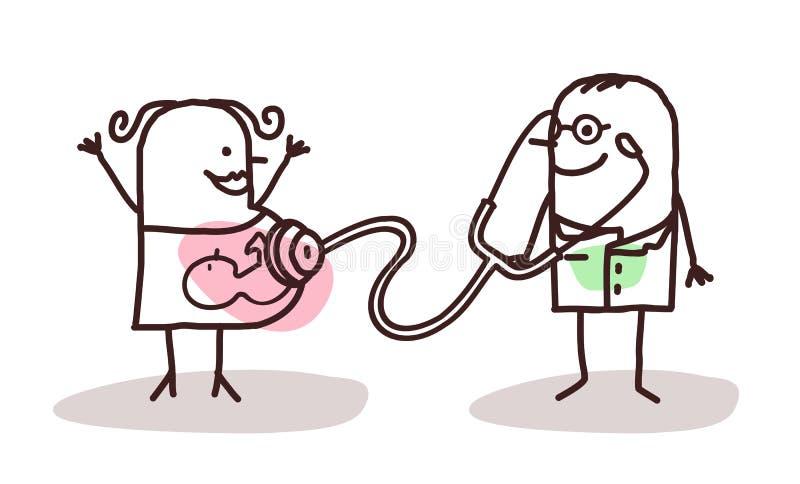 Doctor de la historieta con la mujer embarazada ilustración del vector