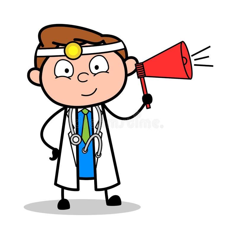 Doctor de la historieta con vector del megáfono stock de ilustración