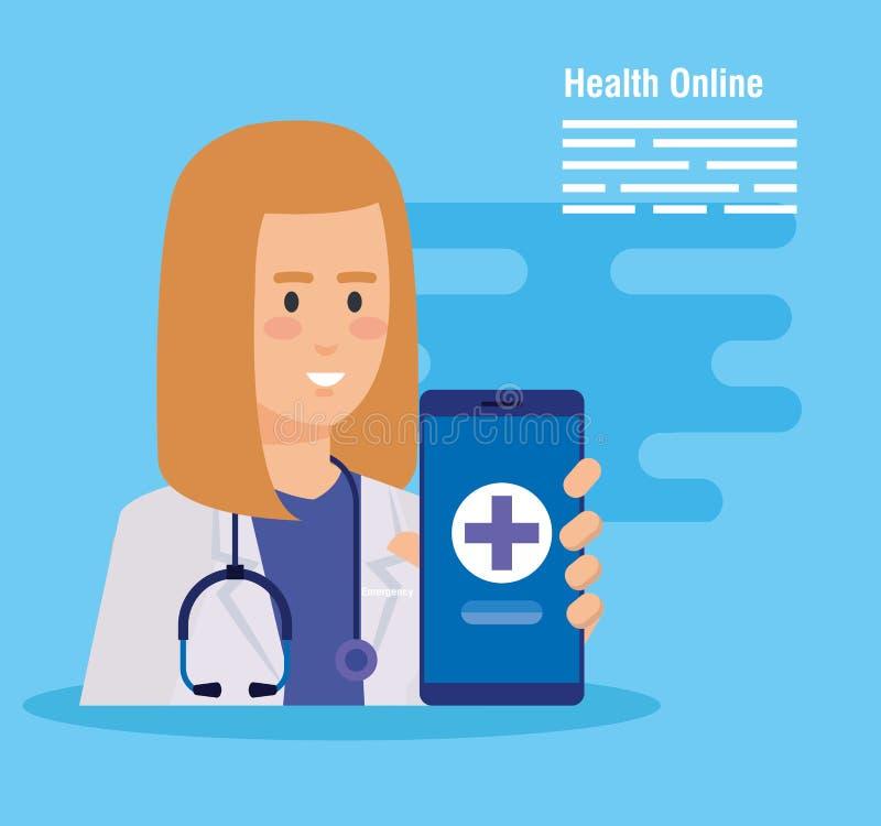 Doctor de la mujer con diagnosis del estetoscopio y del smartphone libre illustration
