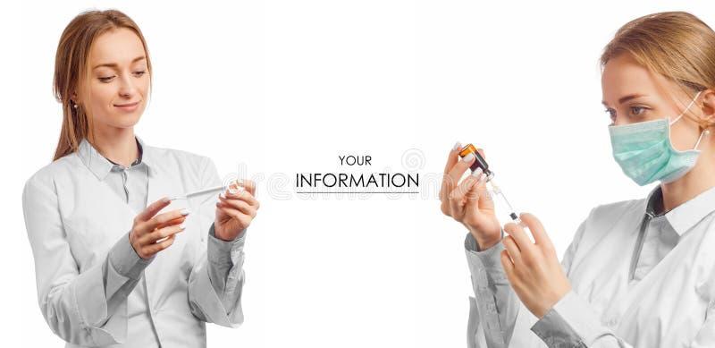 Doctor de la mujer en el termómetro médico del vestido para el modelo determinado de la medicina de la salud de la jeringuilla de fotos de archivo libres de regalías