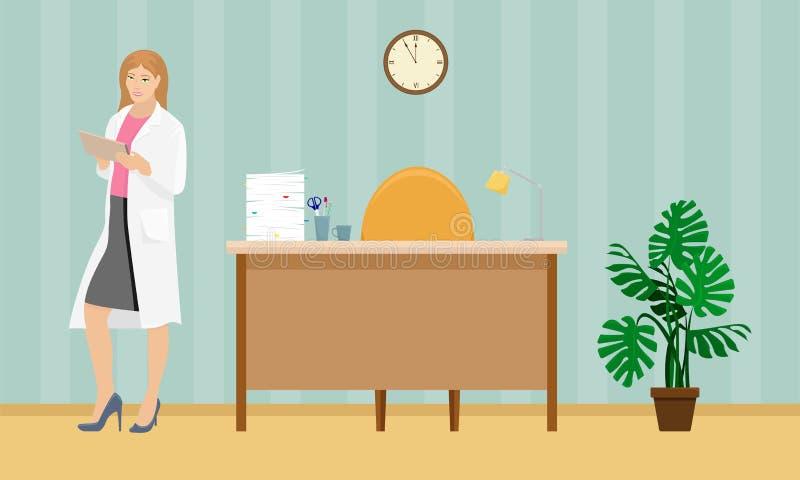 Doctor de la mujer en una capa blanca con una carpeta en su mano stock de ilustración