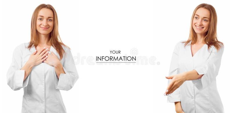 Doctor de la mujer en una confianza médica del vestido que cuida para el modelo determinado de la medicina de la salud fotos de archivo libres de regalías