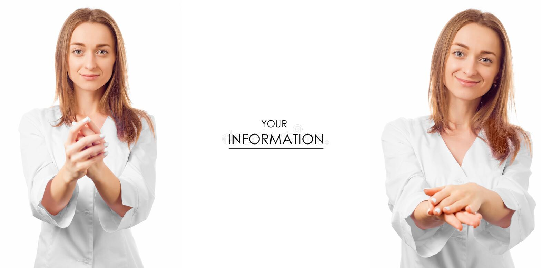 Doctor de la mujer en una confianza médica del vestido que cuida para el modelo determinado de la medicina de la salud imágenes de archivo libres de regalías