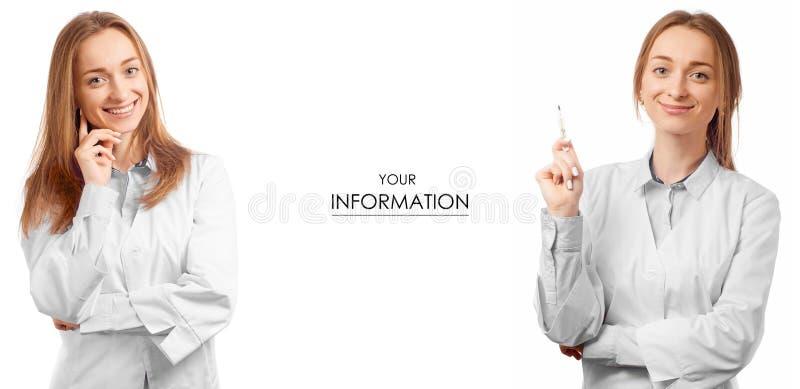 Doctor de la mujer en vestido médico con el modelo determinado de la medicina de la salud del termómetro foto de archivo