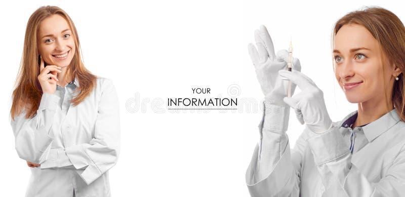 Doctor de la mujer en vestido médico con el modelo determinado de la medicina de la salud de la jeringuilla fotos de archivo